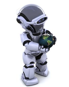 3d rendem de um homem protegendo um globo