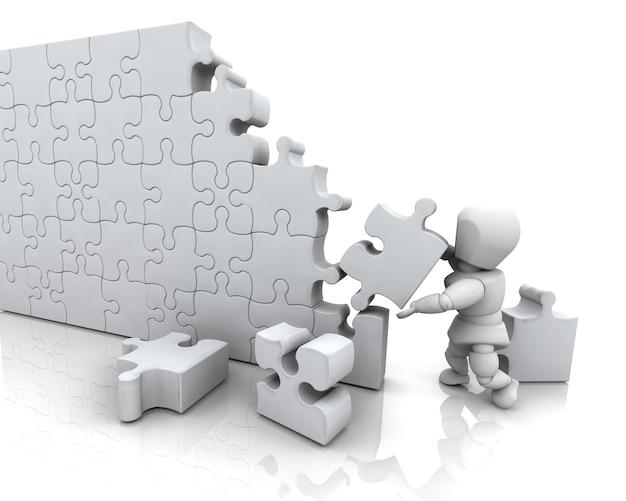 3d rendem de um homem que resolve um quebra-cabeça