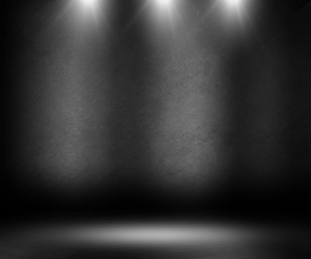 3d rendem de um interior do grunge com as luzes do ponto