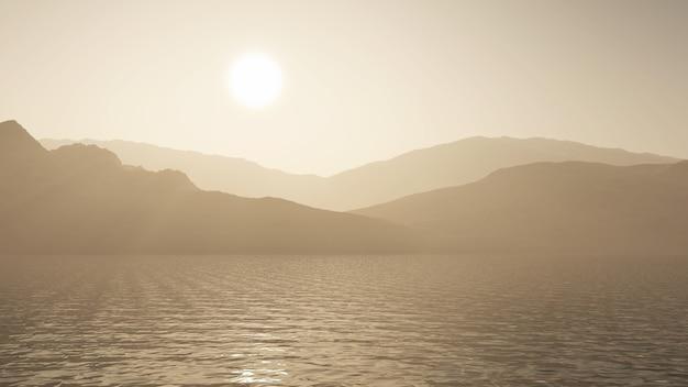 3d rendem de um oceano contra uma paisagem de montanha em tons de sépia