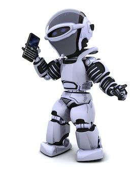 3d rendem de um personagem robô witha um telefone inteligente