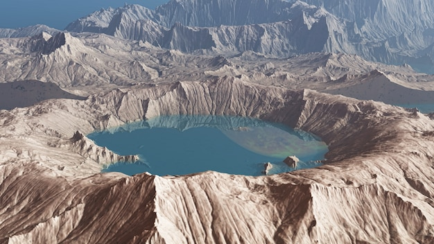 3d rendem de um planeta de crateras
