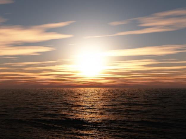 3d rendem de um pôr do sol sobre o oceano