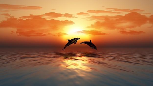3d rendem de um por do sol sobre um oceano com golfinhos saltando