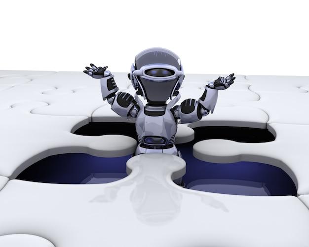 3d rendem de um robô com a peça final do quebra-cabeça