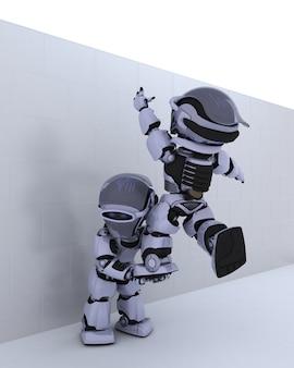 3d rendem de um robô com quebra-cabeça metáfora do negócio