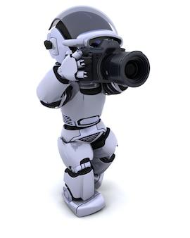 3d rendem de um robô com slr câmera digital
