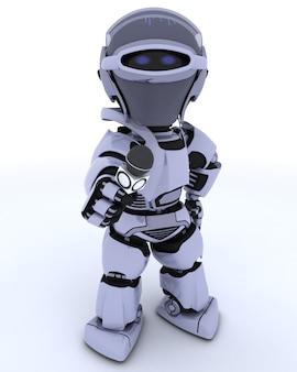 3d rendem de um robô com um microfone repórteres