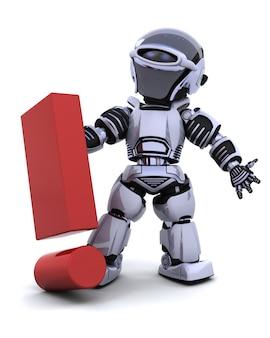 3d rendem de um robô com um símbolo
