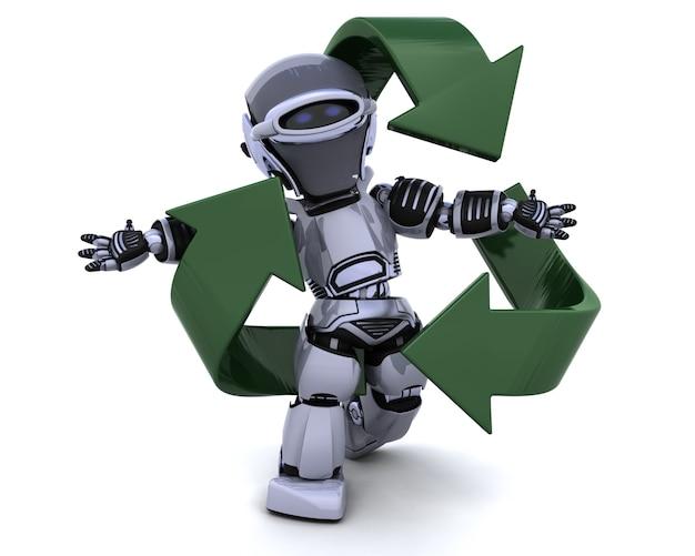 3d rendem de um robô e reciclar sinal