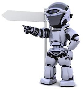3d rendem de um robô em uma placa de sinalização