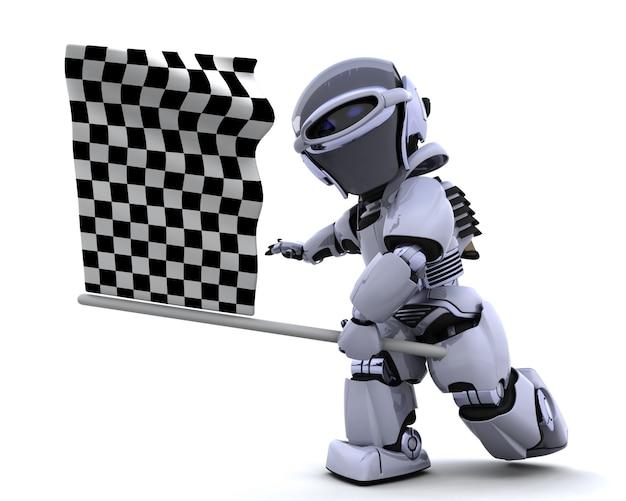 3d rendem de um robô que acena a bandeira quadriculada