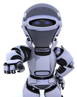 3d rendem de um robô que aponta para trás para fora em você