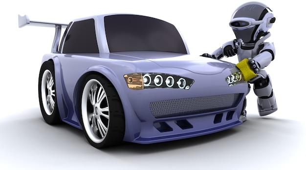 3d rendem de um robô que lava um carro