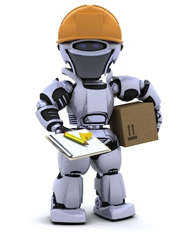 3d rendem de um robô robô no capacete de segurança com prancheta