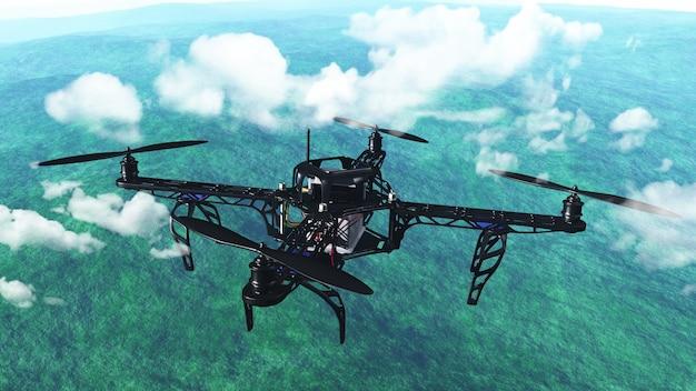 3d rendem de um robô voando acima das nuvens