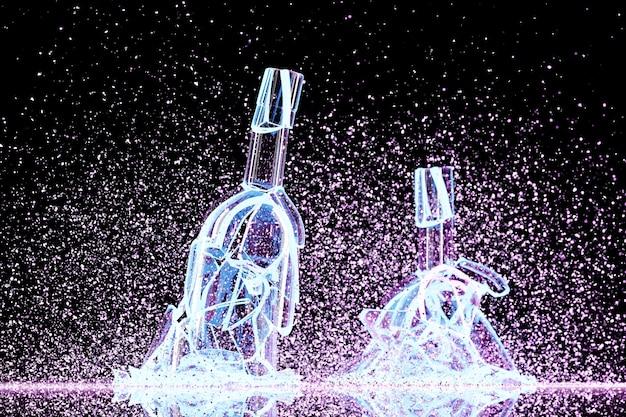 3d rendem de um vinho de iluminação rosa quebrado umas garrafas com muitos fragmentos voando em direções diferentes em um fundo preto.