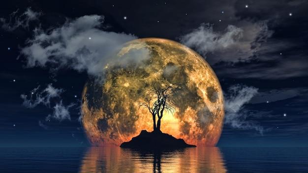 3d rendem de uma árvore assustador de encontro a uma lua