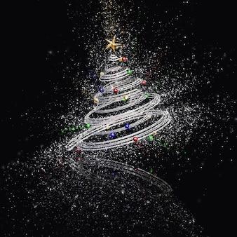 3d rendem de uma árvore de natal abstrata com um efeito de glitter explodindo