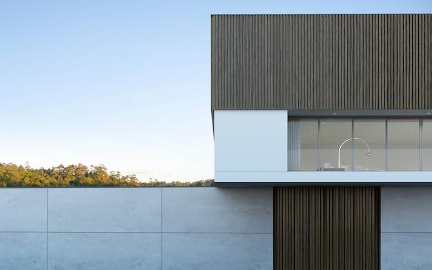 3d rendem de uma casa moderna com piscina no fundo da árvore.