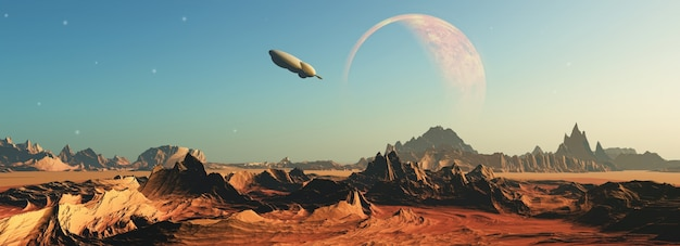 3d rendem de uma cena do espaço de ficção com uma nave espacial voando em direção a um planeta