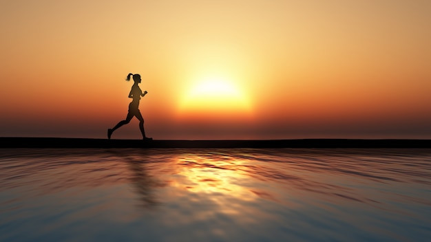 3d rendem de uma corrida feminina de encontro a um por do sol sobre um oceano