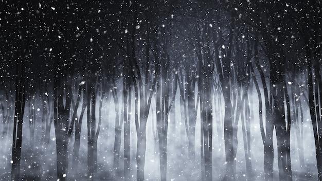 3d rendem de uma floresta nevoenta assustador em uma noite nevado