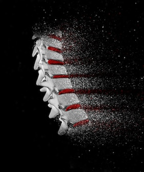 3d rendem de uma imagem espinha, com efeitos a desintegração