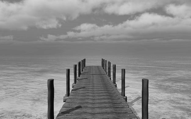 3d rendem de uma imagem preto e branco de um molhe vai para o mar