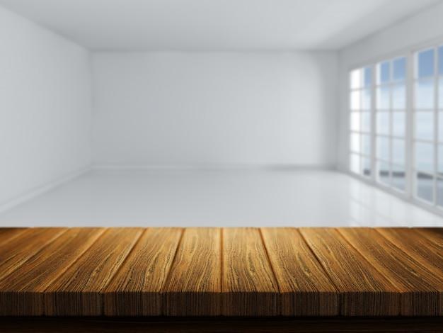 3d rendem de uma mesa de madeira com um quarto vazio defocussed em segundo plano