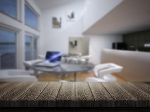 3d rendem de uma mesa de madeira com uma barra de café defocussed em segundo plano