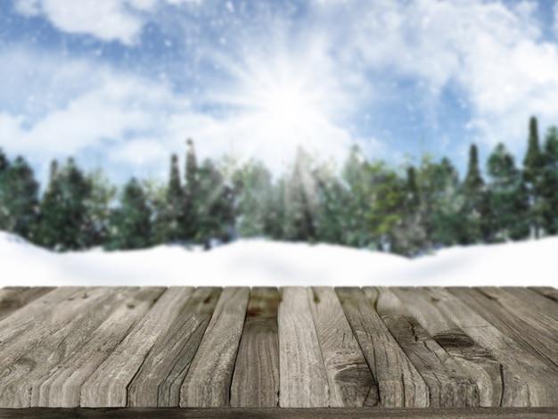 3d rendem de uma mesa de madeira com uma paisagem nevado do natal no fundo