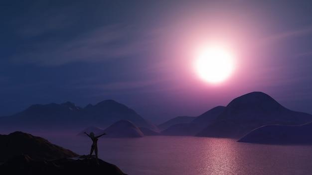 3d rendem de uma mulher com os braços estendidos contra um céu roxo do por do sol