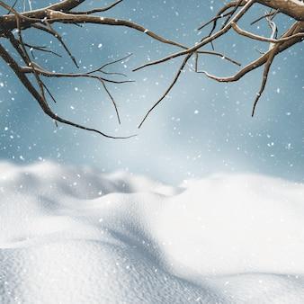 3d rendem de uma paisagem de neve do inverno