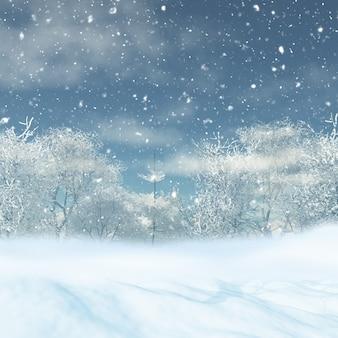 3d rendem de uma paisagem de neve