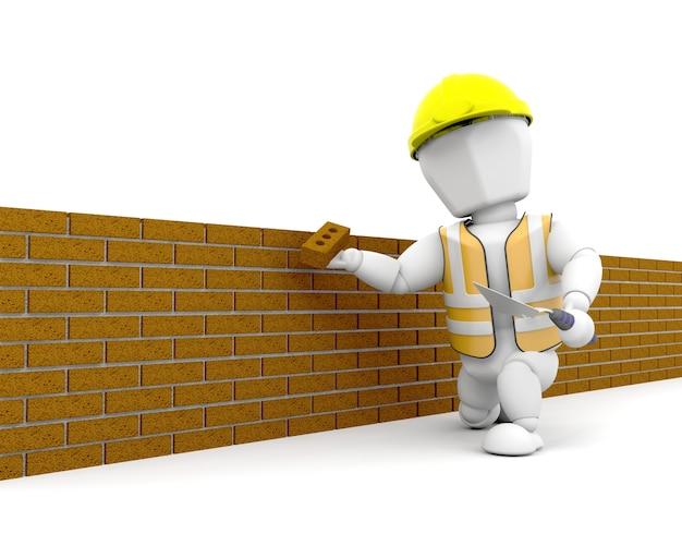 3d rendem de uma pessoa que constrói uma parede de tijolo