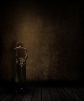 3d rendem de uma sala interior do grunge com a parede danificada e piso e rapariga frente para a parede