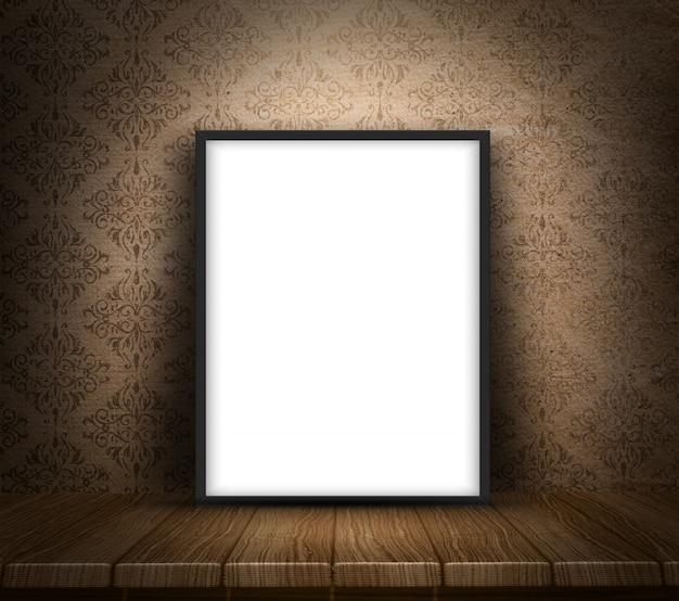 3d rendem de uma tela em branco na tabela de madeira contra um fundo grunge papel de parede