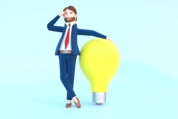 3d rendem do caráter do empresário pensando com lâmpada.