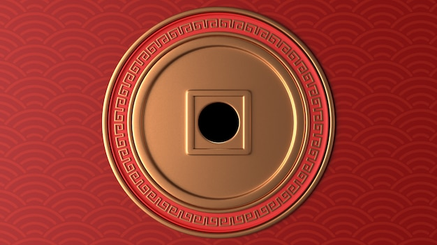 3d rendem do círculo dourado com ornamentos vermelhos