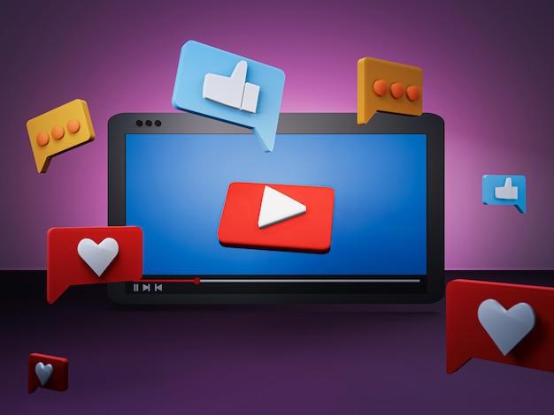 3d rendem do conceito de mídia social com tablet e ícone de mídia social