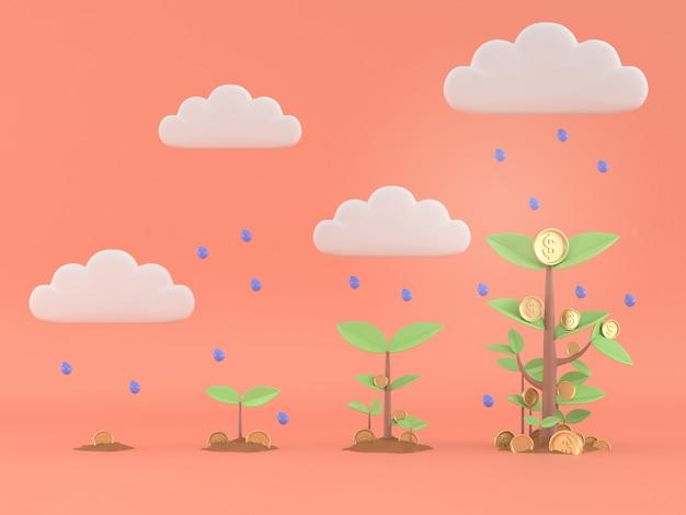 3d rendem do crescimento da árvore do dinheiro