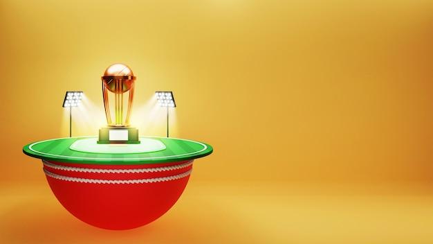 3d rendem do estádio de críquete ou do parque infantil com a taça do troféu de ouro e o espaço da cópia.