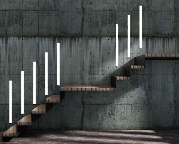 3d rendem do estilo do sótão e da escada com trilho de estilingue