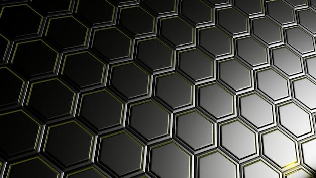 3d rendem do fundo abstrato com hexágono no projeto metálico preto. conceito da tecnologia.