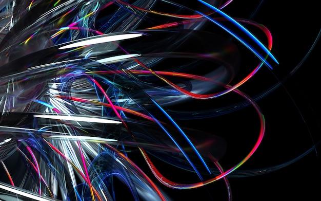 3d rendem do fundo da arte 3d com parte do motor de turbina abstrato ou da flor caleidoscópica com as lâminas afiadas nas formas bio onduladas da curva nos materiais cerâmicos lustrosos brancos de vidro, de vidro e de metal multi-cores vermelhos