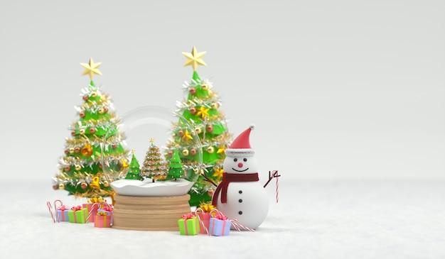 3d rendem do globo de neve de natal com boneco de neve e árvores. renderização 3d