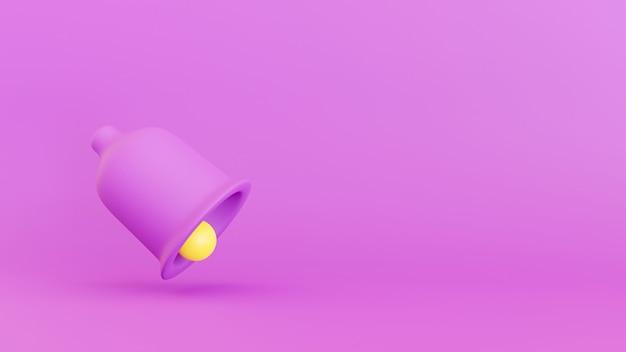 3d rendem do ícone e do símbolo sociais dos meios. sino violeta e amarelo colorido com conceito das notificações.