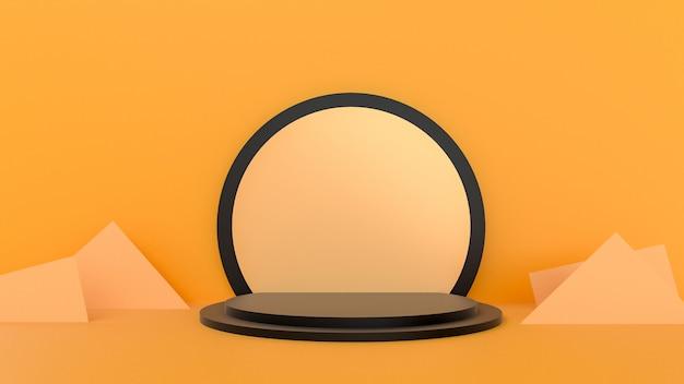 3d rendem do pódio abstrato amarelo para apresentação do produto