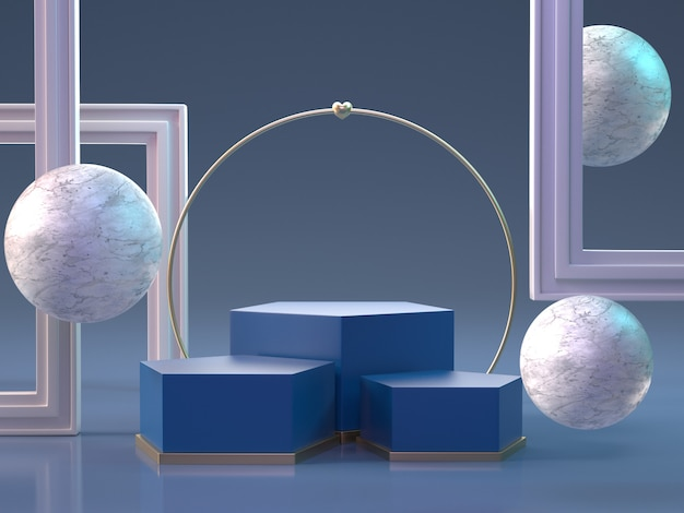 3d rendem do pódio com esferas e quadros
